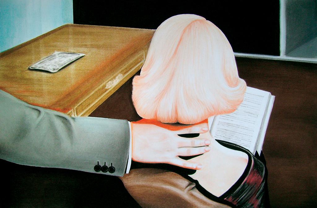 Auction (2010) Lápiz y pastel sobre papel. Medidas 31,5 x 46,5 cm.