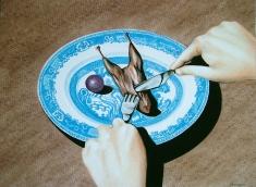 Caille aux Raisins (2010) Lápiz y pastel sobre papel. Medidas 28 x 30 cm.