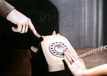 Dead phone (2009) Dibujo, lápiz y pastel sobre papel. Medidas 30 x 40 cm. Film: Frenzy(1972) Dir. Alfred Hitchcock