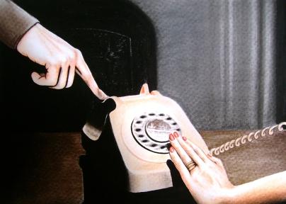 Dead phone (2009) Lápiz y pastel sobre papel. Medidas 30 x 40 cm.