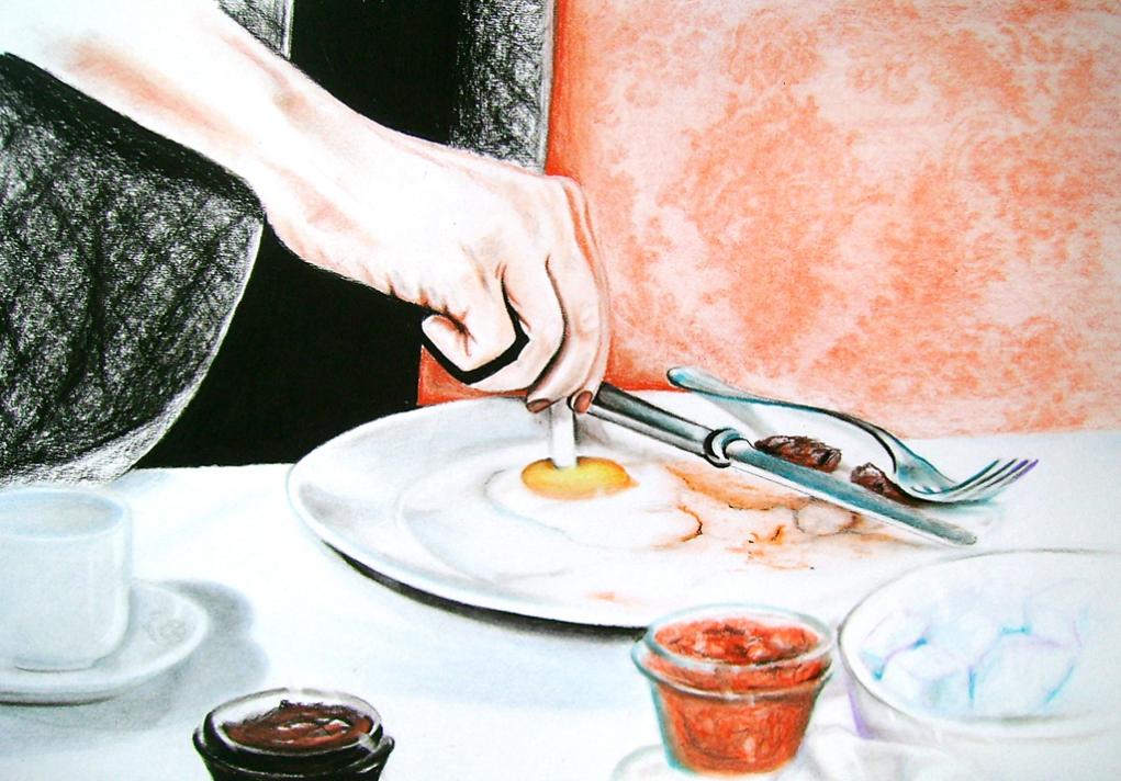 Egg (2009) Lápiz y pastel sobre papel. Medidas 31,5 x 46,5 cm.