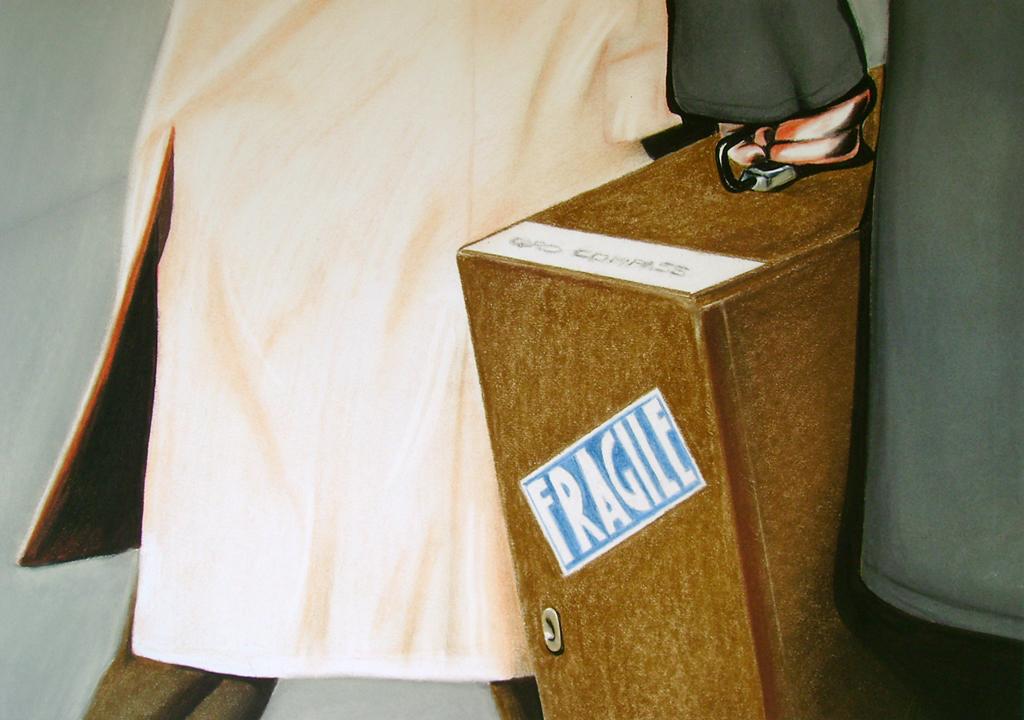 Fragile (2009) Lápiz y pastel sobre papel. Medidas 28 x 30 cm.
