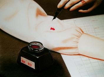 Ink-red (2009) Lápiz y pastel sobre papel. Medidas 30 x 40 cm.