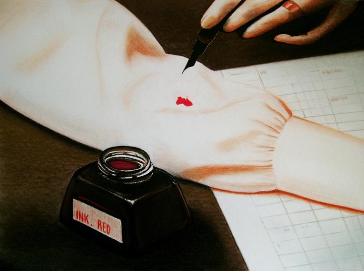 Ink-red (2009) Dibujo, lápiz y pastel sobre papel. Medidas 30 x 40 cm. Film: Marnie (1964) Dir. Alfred Hitchcock