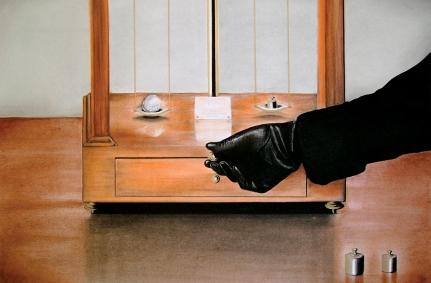 Scale Balance (2010) Dibujo, lápiz y pastel sobre papel. Medidas 31,5 x 46,5 cm. Film: Family Plot (1976) Dir. Alfred Hitchcock.