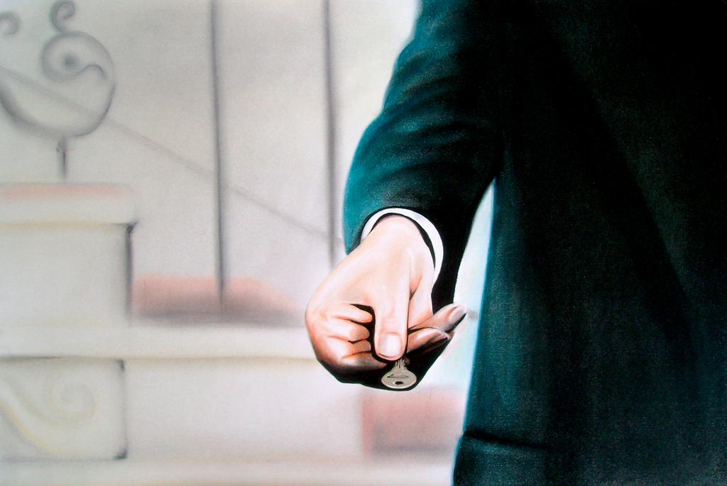 "The Key (2010) Lápiz y pastel sobre papel. Medidas 31,5 x 46,5 cm. Film: Dial M for Murder (1954) Dir. Alfred Hitchcock *The Key ilustra la portada del libro ""Rancho Nostalgia"" de James Cihlar, Dream Horse Press, 2013"
