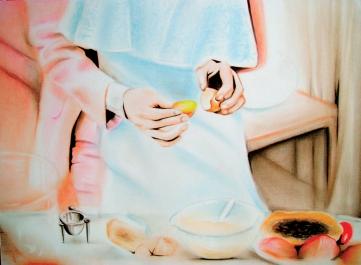 Yolk (2010) Lápiz y pastel sobre papel. Medidas 24 x 32 cm.