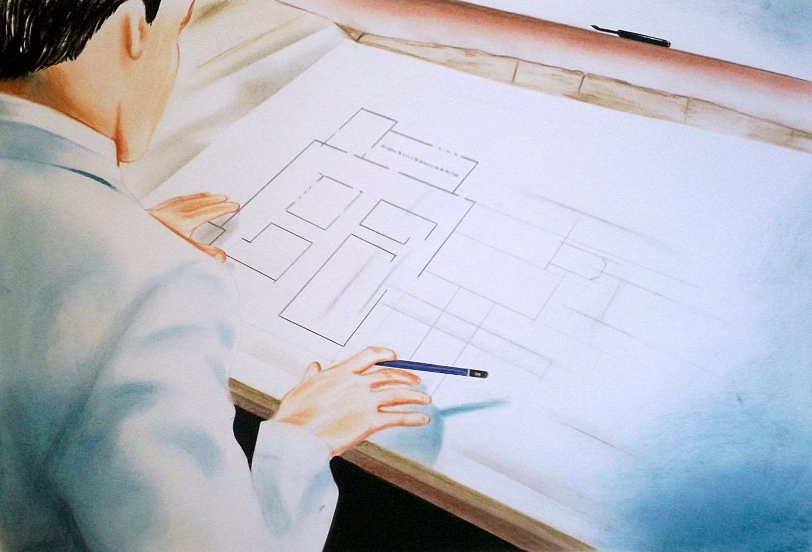 Architect (2011) Lápiz y pastel sobre papel. Medidas 30 x 40 cm.