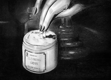"""""""Rowena"""" (2012) Dibujo, lápiz de carbón y pastel negro sobre papel. Medidas 28 x 35 cm. Film: """"Rebecca"""", Dir. A. Hitchcock, 1940."""