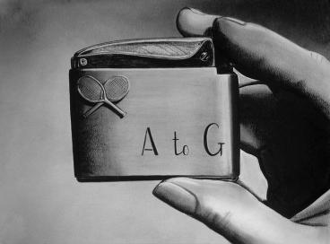 """A to G"" (2012) Dibujo, lápiz de carbón y pastel negro sobre papel. Medidas 30 x 40 cm. Film: ""Strangers on a train"", Dir. A. Hitchcock, 1951."