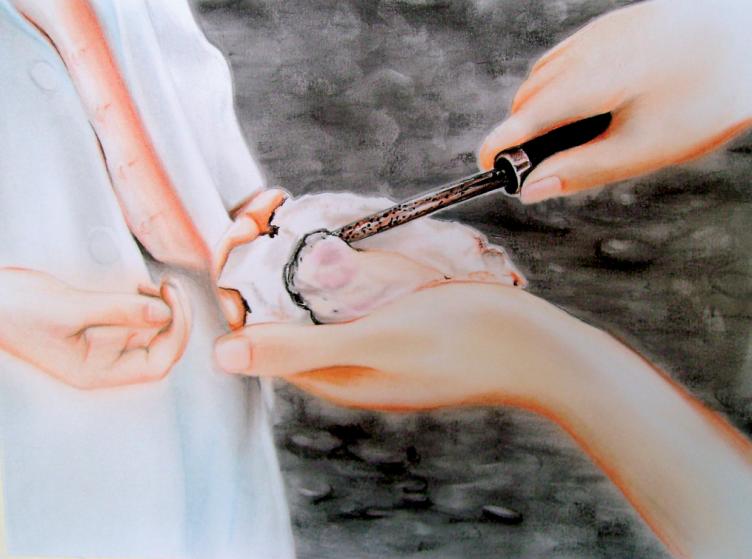 Oyster (2010) Dibujo, lápiz y pastel sobre papel. Medidas 24 x 32 cm. Film: Tampopo (1985) Dir. Juzo Itami