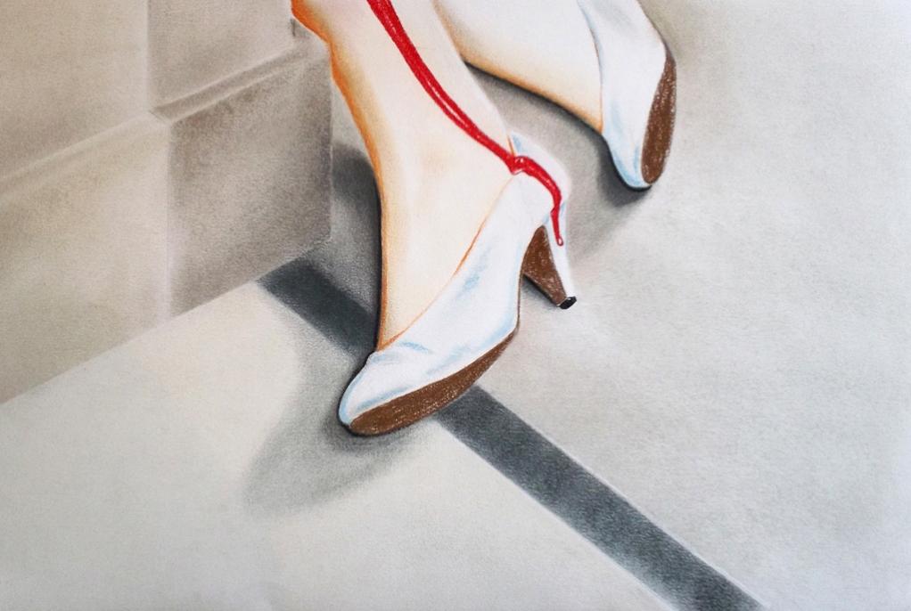 Dead white shoes (2012) Lápiz y pastel sobre papel. Medidas 31,5 x 46,5 cm.