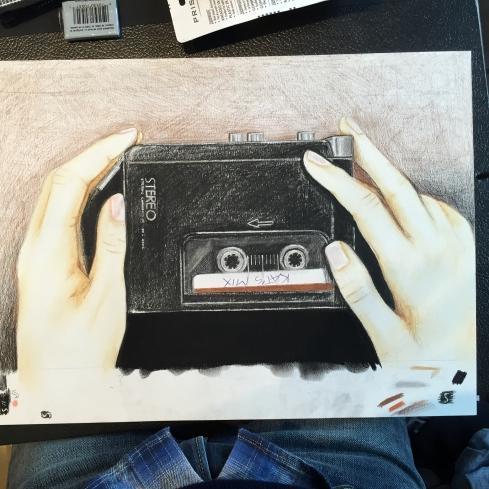 KAT'S MIX (2015) Lápiz y pastel sobre papel.