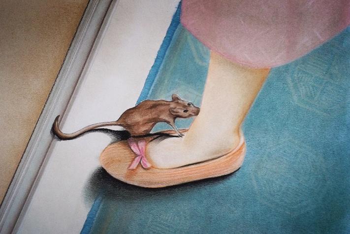 Killer Mouse (2012) Lápiz y pastel sobre papel. Medidas 31,5 x 46,5 cm.
