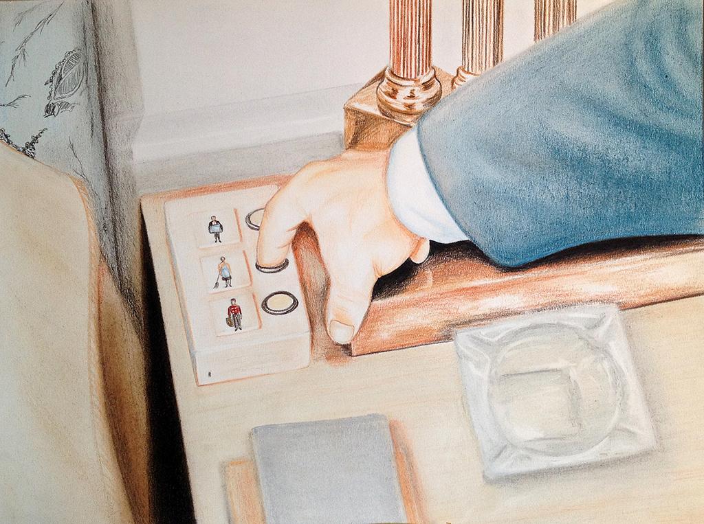 Room service (2012) Lápiz y pastel sobre papel. Medidas 30 x 40 cm.