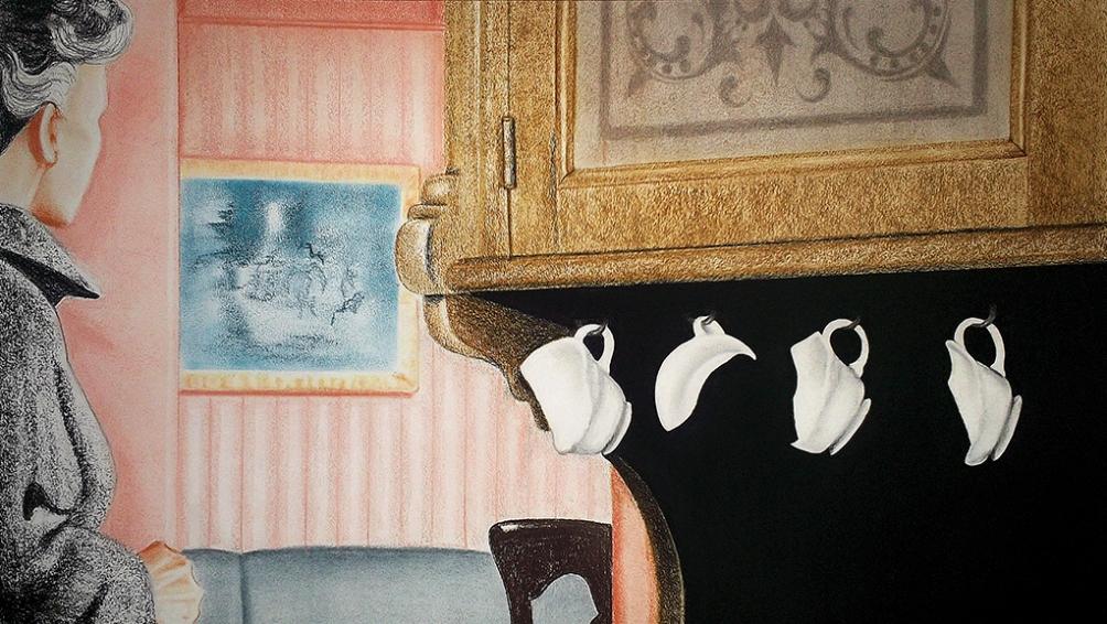 Tazas Rotas (2013) Dibujo, lápiz y pastel sobre papel. Medidas 40 x 70 cm. Film: The Birds (1963) Dir. Alfred Hitchcock.