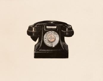 """#39 Dial M"" (2013) Dibujo, lápiz y pastel sobre papel. Medidas 28 x 35,5 cm. Film: Dial M for Murder (1954) Dir. Alfred Hitchcock."