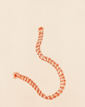 """#34 Rope"" (2013) Dibujo, lápiz y pastel sobre papel. Medidas 35,5 x 28 cm. Film: Rope (1948) Dir. Alfred Hitchcock."