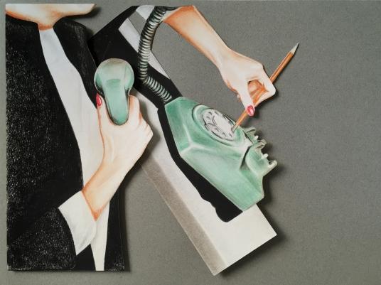 "Phone call (2013/2016) Dibujo / Collage. Lápiz y pastel sobre papel. Medidas: 30 x 40 cm.Film: ""The Birds"" (1963) Dir. Alfred Hitchcock"