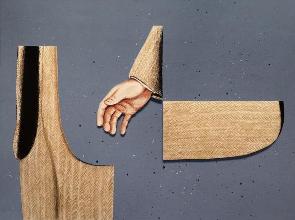 Por él Mismo. (2016) Dibujo-Collage. Lápiz, pastel y tinta sobre papel. Medidas: 37 x 52 cm. Con él