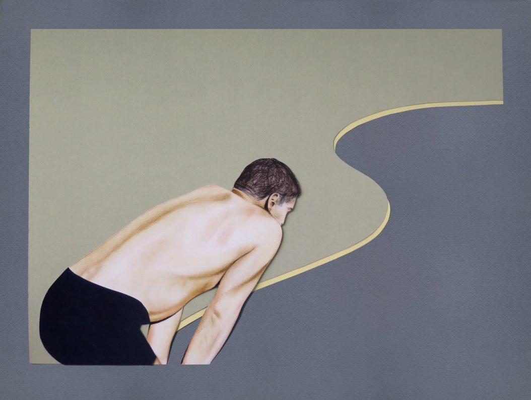 """The Swimmer (2016) Dibujo / Collage. Lápiz y pastel sobre papel. Medidas: 60 x 80 cm.Film: """"The Swimmer"""" (1968) Dir. Frank Perry / Sidney Pollack. Basada en el cuento de John Cheever."""