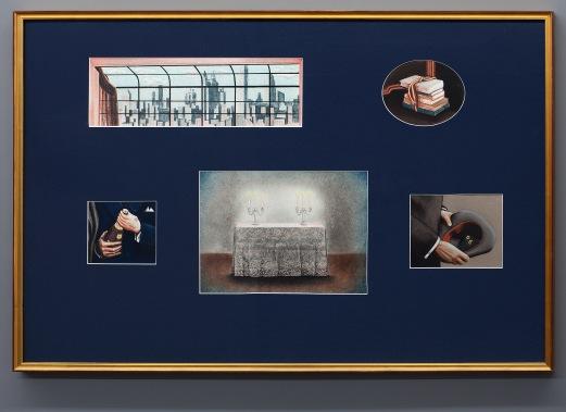 Rope. Dibujo, lápiz y pastel sobre papel montados en passepartout con ventanas. 80 x 120 cm.