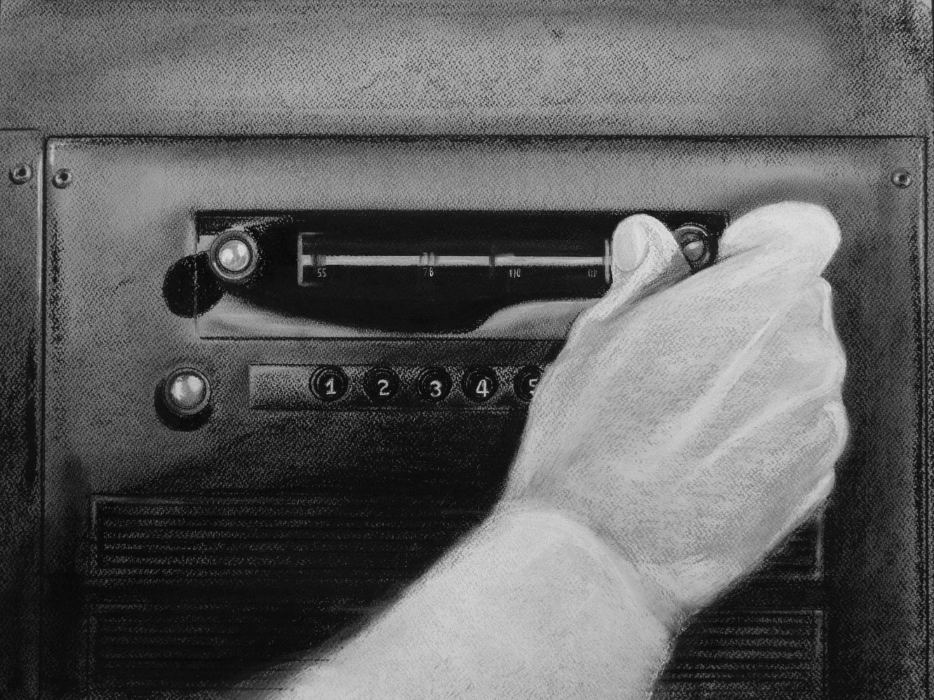 Radio. Serie Fatale, 2018 | Radio. Series Fatale, 2018 Lápiz y pastel sobre papel | Pencil and pastel on paper 41 x 54,5 cm | 16.1 x 21.5 in