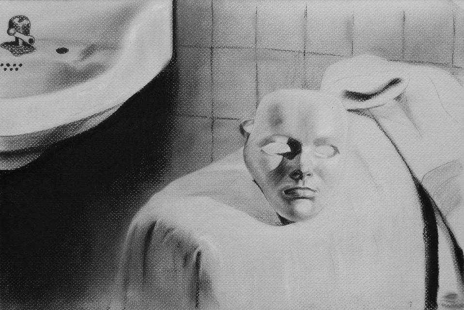 Máscara. Serie Fatale, 2018 | Máscara. Series Fatale, 2018 Lápiz y pastel sobre papel | Pencil and pastel on paper 30 x 45,5 cm | 11.8 x 17.9 in