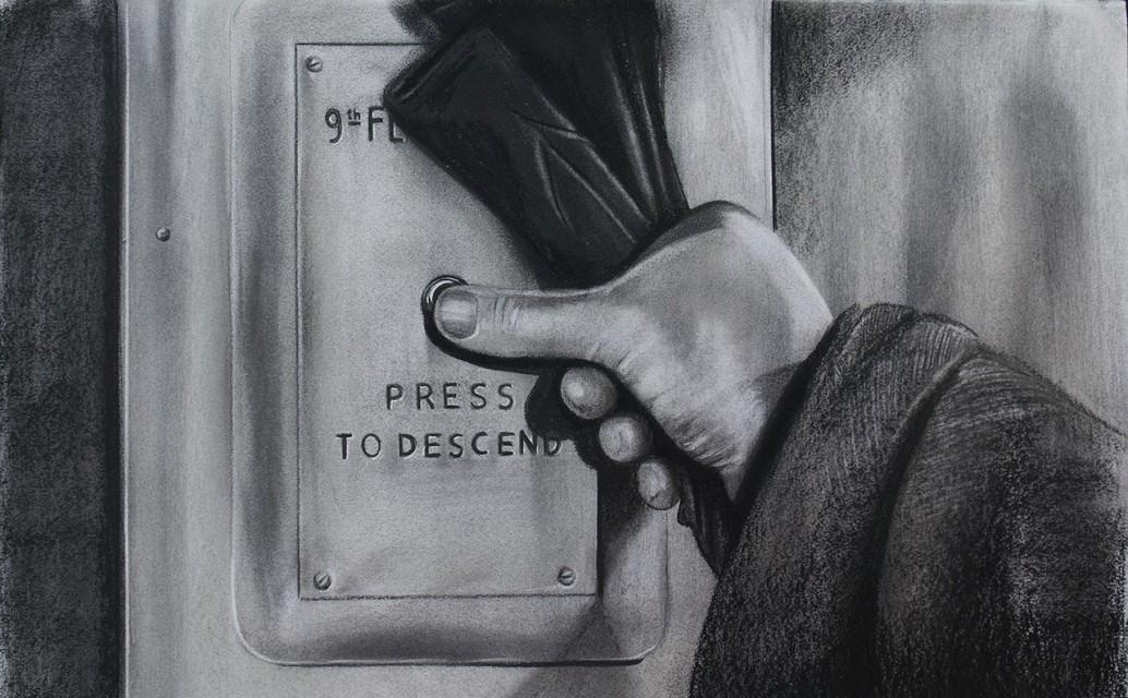 Descend. Serie Fatale, 2018 | Descend. Series Fatale, 2018 Lápiz y pastel sobre papel | Pencil and pastel on paper 43 x 70 cm | 16.9 x 27.5 in