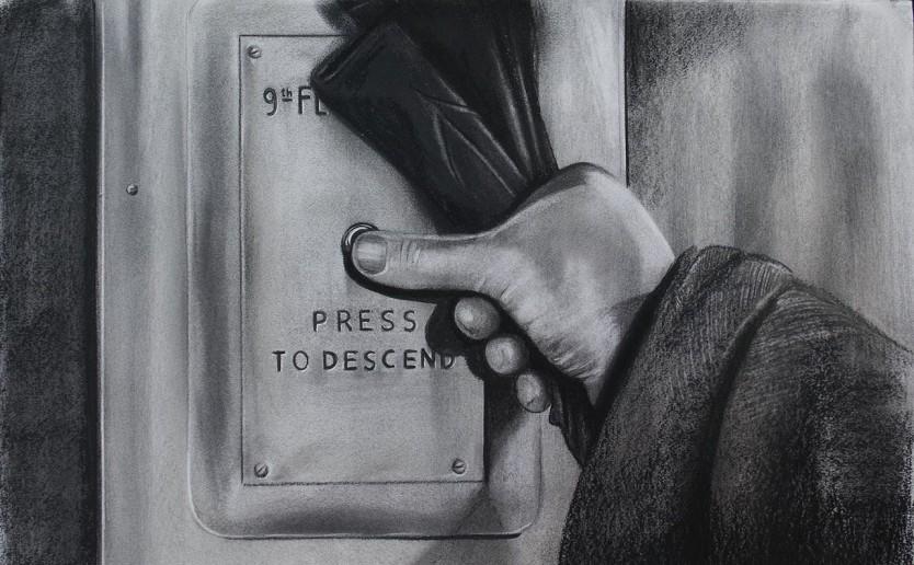 Descend. Serie Fatale, 2018   Descend. Series Fatale, 2018 Lápiz y pastel sobre papel   Pencil and pastel on paper 43 x 70 cm   16.9 x 27.5 in