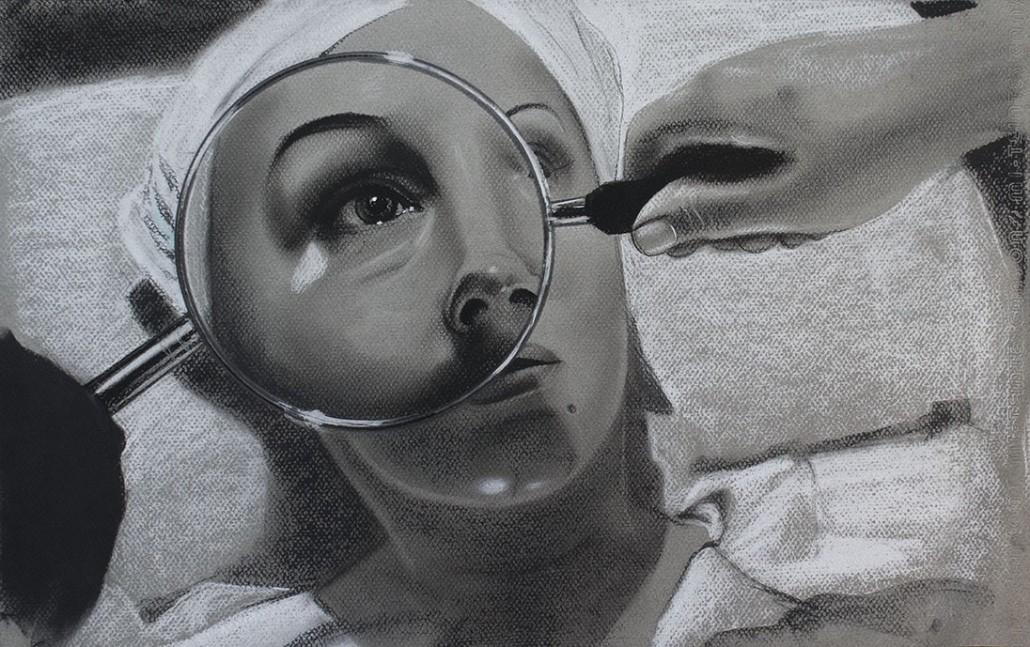 Tratamiento I. Serie Fatale, 2018   Tratamiento I. Series Fatale, 2018 Lápiz y pastel sobre papel   Pencil and pastel on paper 31,5 x 50 cm   12.4 x 19.6 in