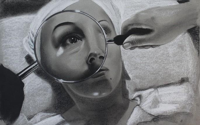 Tratamiento I. Serie Fatale, 2018 | Tratamiento I. Series Fatale, 2018 Lápiz y pastel sobre papel | Pencil and pastel on paper 31,5 x 50 cm | 12.4 x 19.6 in