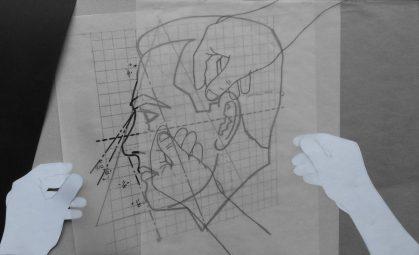 Para ser otro, serie Fatale, 2018. Dibujo/collage, lápiz, marcador y papel sobre papel. 30,5 x 50 cm.