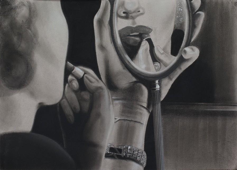 Espejo. Serie Fatale, 2018   Espejo. Series Fatale, 2018 Lápiz y pastel sobre papel   Pencil and pastel on paper 50 x 70 cm   19.6 x 27.5 in